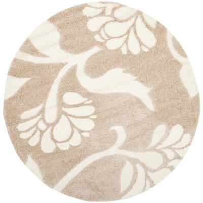 Marybell Light Creme Area Rug Rug Size: Round 67