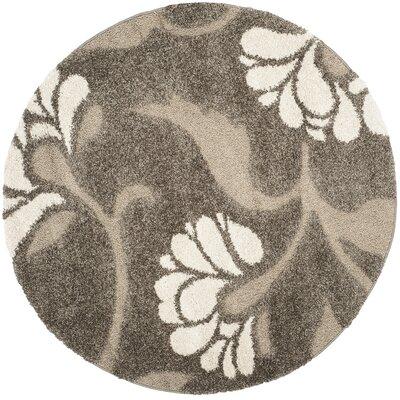 Flanery Smoke/Beige Area Rug Rug Size: Round 67