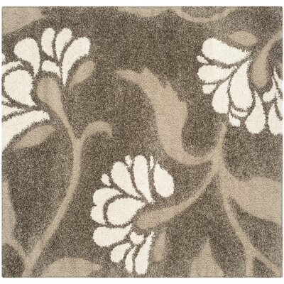 Flanery Smoke/Beige Area Rug Rug Size: Square 5