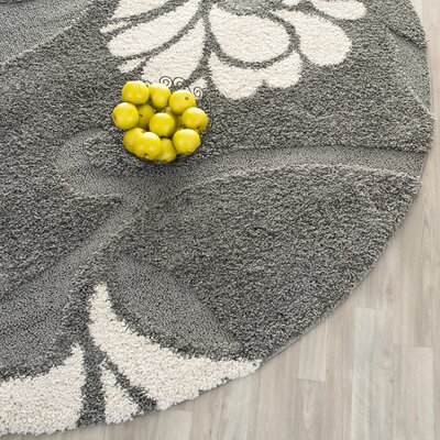 Flanery Gray/Beige Area Rug Rug Size: Round 67