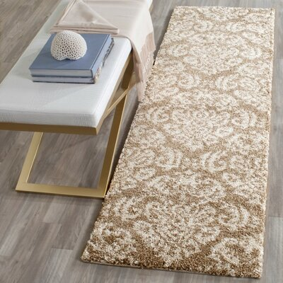 Flanery Beige/Cream Area Rug Rug Size: Runner 23 x 9