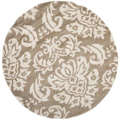 Flanery Beige/Cream Area Rug Rug Size: Round 4
