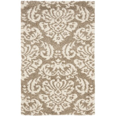 Flanery Beige/Cream Area Rug Rug Size: 33 x 53