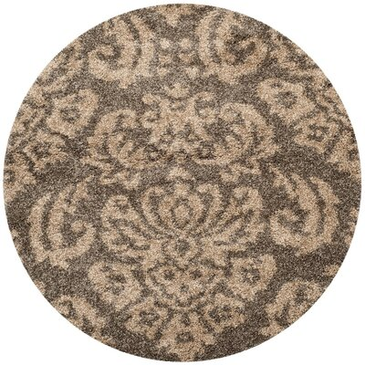 Gustav Light Smoke/Beige Area Rug Rug Size: Round 4