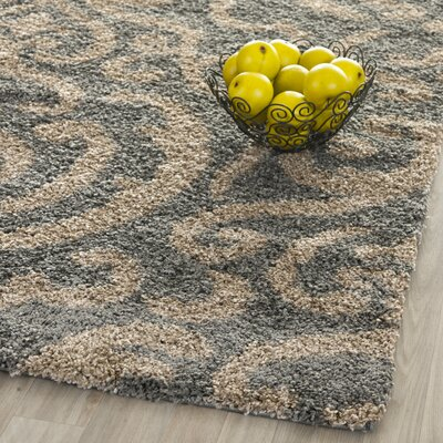Flanery Light Gray/Beige Area Rug Rug Size: 53 x 76