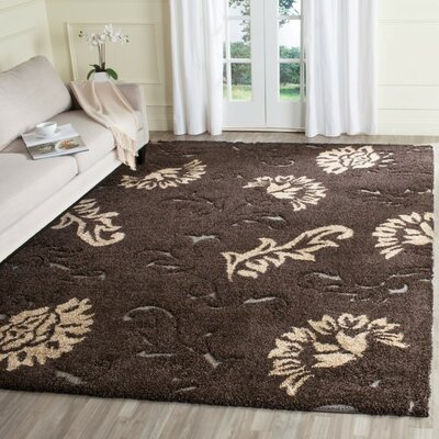 Flanery Dark Brown/Smoke Area Rug Rug Size: 33 x 53