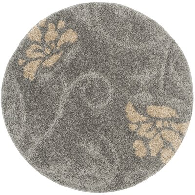 Flanery Gray/Beige Area Rug Rug Size: Round 4