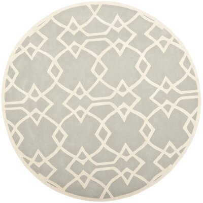 Georges Grey / Ivory Area Rug Rug Size: Round 7