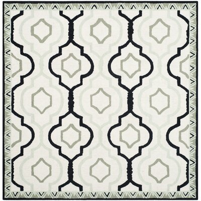Altman Ivory / Black Area Rug Rug Size: Square 6
