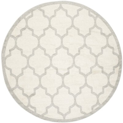 Maritza Beige/Light Grey Flat Woven Area Rug Rug Size: Round 7