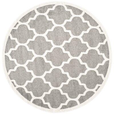 Maritza Trellis Dark Grey/Beige Area Rug Rug Size: Round 7