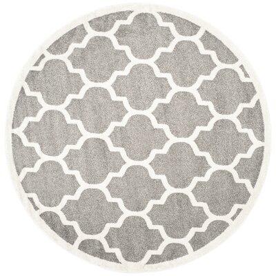 Maritza Trellis Dark Grey/Beige Area Rug Rug Size: Round 9