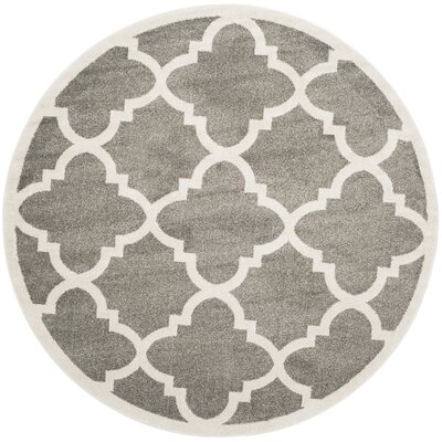 Maritza Dark Grey/Beige Indoor/Outdoor Area Rug Rug Size: Round 5