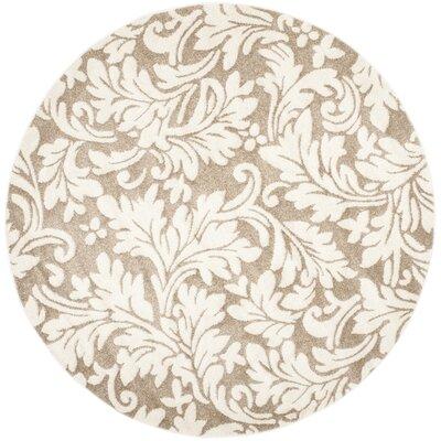 Maritza Floral Wheat/Beige Indoor/Outdoor Area Rug Rug Size: Round 7