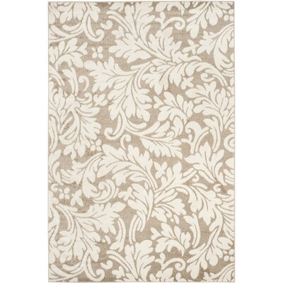 Maritza Floral Wheat/Beige Indoor/Outdoor Area Rug Rug Size: Round 5