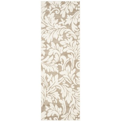 Maritza Floral Wheat/Beige Indoor/Outdoor Area Rug Rug Size: Runner 23 x 9