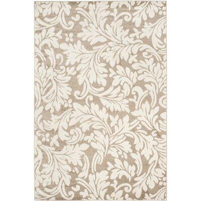 Maritza Floral Wheat/Beige Indoor/Outdoor Area Rug Rug Size: 3 x 5