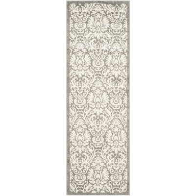 Maritza Floral Dark Grey/Beige Area Rug Rug Size: Runner 23 x 9