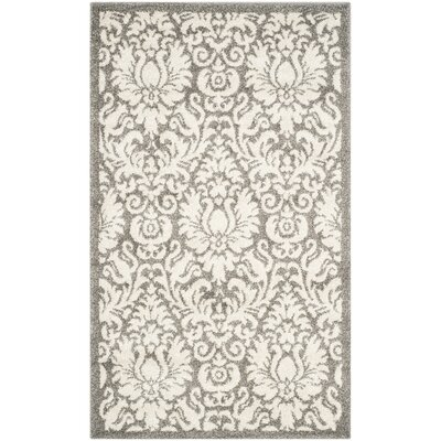 Maritza Floral Dark Grey/Beige Area Rug Rug Size: Rectangle 26 x 4