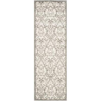 Maritza Floral Dark Grey/Beige Area Rug Rug Size: Runner 23 x 7