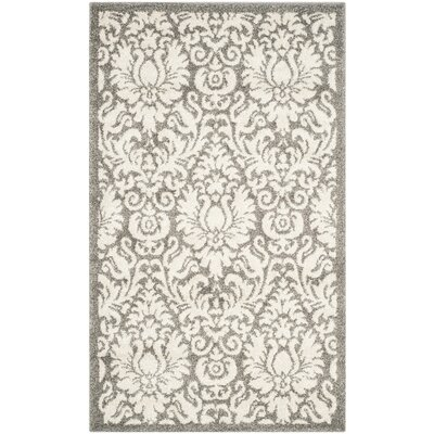 Maritza Floral Dark Grey/Beige Area Rug Rug Size: Rectangle 4 x 6