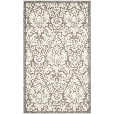 Maritza Floral Dark Grey/Beige Area Rug Rug Size: Square 7
