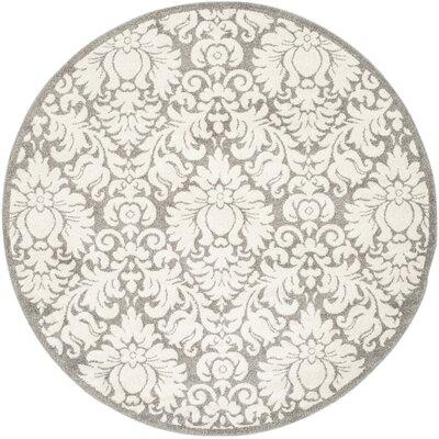 Maritza Floral Dark Grey/Beige Area Rug Rug Size: Round 7