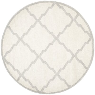 Maritza Geometric Beige/Light Grey Area Rug Rug Size: Round 5