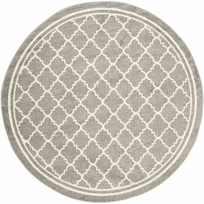 Maritza Dark Grey/Beige Indoor/Outdoor Area Rug Rug Size: Round 7