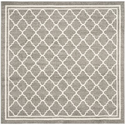Levon Dark Grey/ Beige Area Rug Rug Size: Square 5