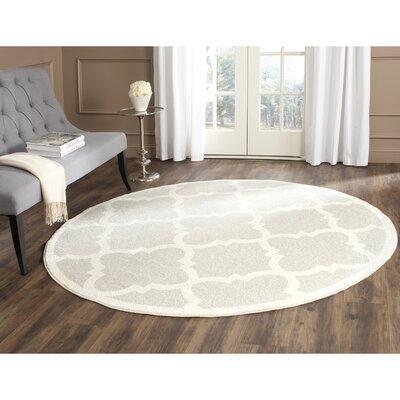 Levon Light Grey & Beige Area Rug Rug Size: Round 5