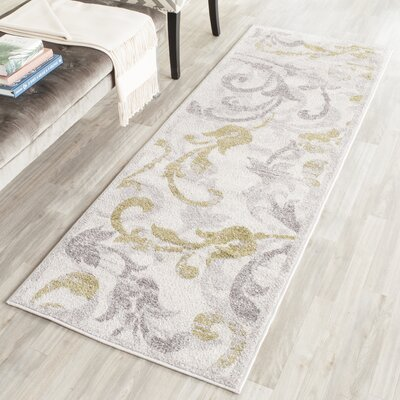 Maritza Floral Ivory/Light Grey Indoor/Outdoor Area Rug Rug Size: Runner 23 x 7