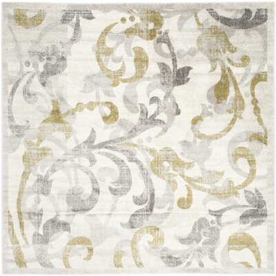 Maritza Floral Ivory/Light Gray Indoor/Outdoor Area Rug Rug Size: Square 7