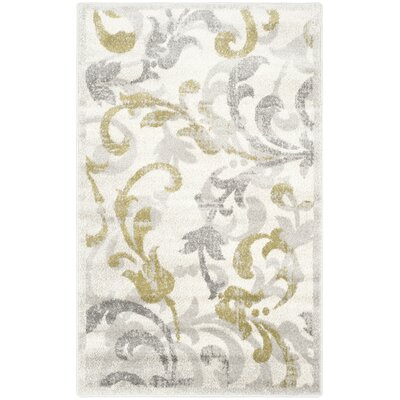 Maritza Floral Ivory/Light Grey Indoor/Outdoor Area Rug Rug Size: Rectangle 3 x 5
