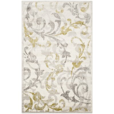 Maritza Floral Ivory/Light Grey Indoor/Outdoor Area Rug Rug Size: Rectangle 5 x 8