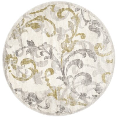 Maritza Floral Ivory/Light Grey Indoor/Outdoor Area Rug Rug Size: Round 7