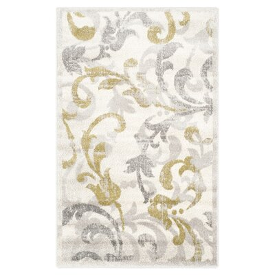 Maritza Floral Ivory/Light Grey Indoor/Outdoor Area Rug Rug Size: Rectangle 26 x 4