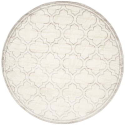Levon Ivory/Light Gray Indoor/Outdoor Area Rug Rug Size: Round 7