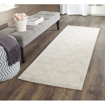 Maritza Geometric Ivory/Light Gray Indoor/Outdoor Area Rug Rug Size: Runner 23 x 7