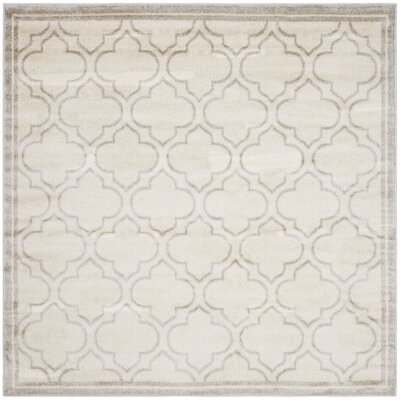 Maritza Geometric Ivory/Light Gray Indoor/Outdoor Area Rug Rug Size: Square 7