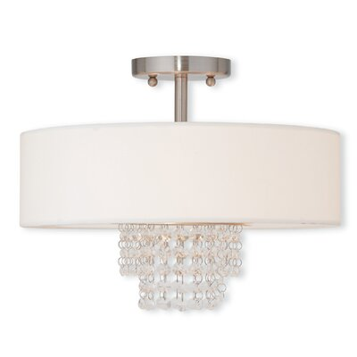 Peverall 2-Light Semi Flush Mount Size: 11.25 H x 15 W x 15 D