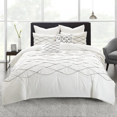 Sunita Cotton 7 Piece Comforter Set Size: Full/Queen, Color: White