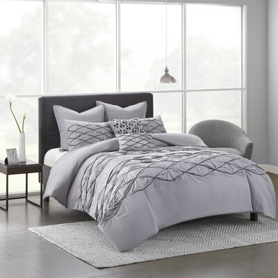Freidman Cotton 7 Piece Duvet Cover Set Size: Full/Queen, Color: Gray