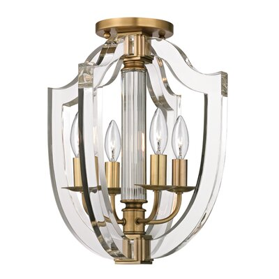 Elishia 4-Light Semi Flush Finish: Aged Brass