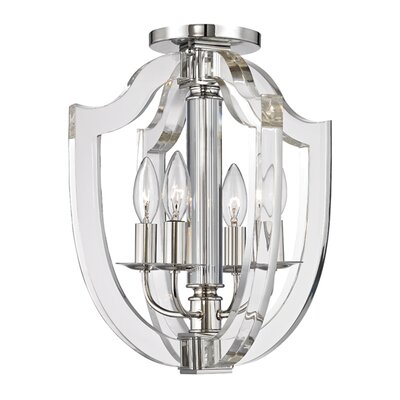 Elishia 4-Light Semi Flush Finish: Polished Nickel