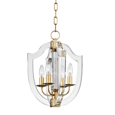 Elishia 4-Light Mini Pendant Finish: Aged Brass, Size: 22 H X 16.5 W X 16.5 D