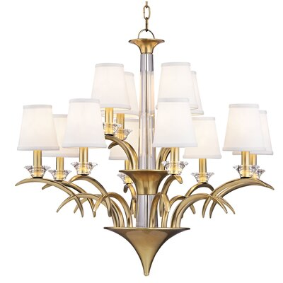 Elia 12-Light Shaded Chandelier Finish: Aged Brass