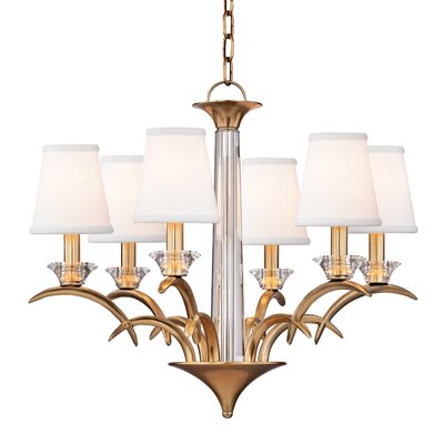 Elia 6-Light Shaded Chandelier Finish: Aged Brass