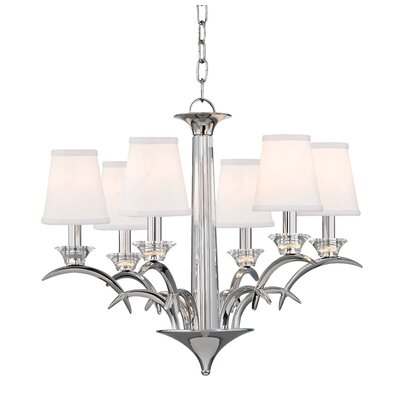 Gianna 6-Light Shaded Chandelier Finish: Polished Nickel