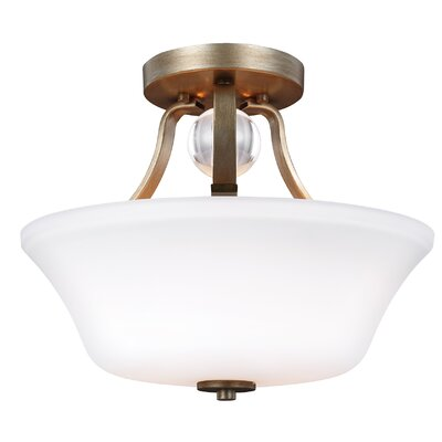 Scheider 2-Light Semi Flush Mount Finish: Sunset Gold